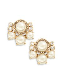 kate spade new york | Metallic Faux-pearl Cluster Stud Earrings | Lyst