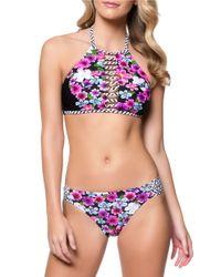 Jessica Simpson | Black Botanica Highneck Halter Bikini Top | Lyst