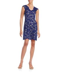 Vince Camuto | Blue Floral Lace A-line Dress | Lyst