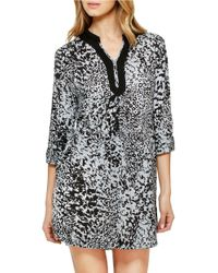 Ellen Tracy | Gray Plus Three-quarter Sleeve Sleepshirt | Lyst