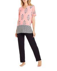 Ellen Tracy | Pink Printed V-neck Top | Lyst
