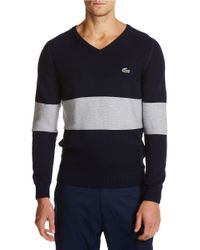 Lacoste | Blue Striped Colorblock Sweater for Men | Lyst