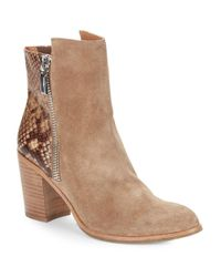 Kenneth Cole   Natural Ingrid Suede And Snakeskin Ankle Boots   Lyst