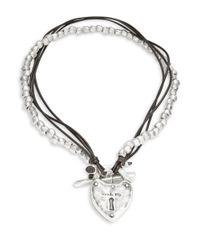 Uno De 50 | Metallic Cord And Beaded Lock Pendant Necklace | Lyst