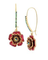Betsey Johnson | Red Gold-tone Multi-crystal Flower Drop Earrings | Lyst