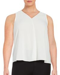 Vince Camuto | White Crepe V-neck Top | Lyst