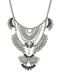BCBGeneration | Metallic Silver-tone Tiered Feather Bib Necklace | Lyst