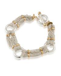 Lauren by Ralph Lauren | Metallic 12k Goldplated Brass Chain-and-ring Bracelet | Lyst