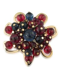 Trina Turk | Multicolor 14k Gold-plated Beaded Floral Brooch | Lyst