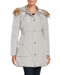 Jessica Simpson | Gray Faux Fur Trimmed Quilted Coat | Lyst