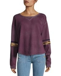 Free People | Purple Harper Cotton Embellished Sleeve Pullover | Lyst