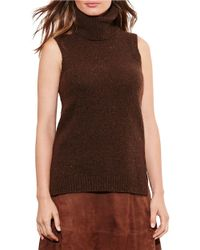 Lauren by Ralph Lauren | Brown Sleeveless Turtleneck Sweater | Lyst