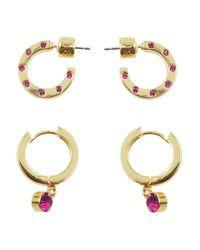 Kensie | Metallic Hug Hoop Earrings | Lyst