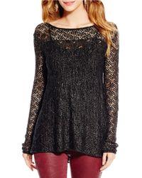 Jessica Simpson | Black Darlanne Open-knit Sweater | Lyst