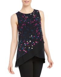 Ellen Tracy | Blue Printed Sleeveless Top | Lyst