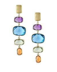Effy | Metallic Mosaic Amethyst, Topaz, Citrine And 14k Yellow Gold Drop Earrings | Lyst