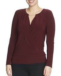 Chaus   Purple Long Sleeve Banded Wrap Top   Lyst