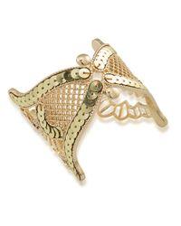 ABS By Allen Schwartz | Metallic Sequined Openwork Cuff Bracelet | Lyst