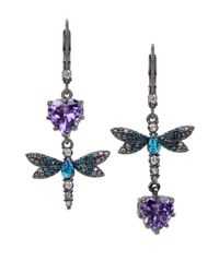 Betsey Johnson | Hematite-tone Purple And Blue Stone Dragonfly Mismatch Earrings | Lyst