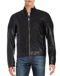 Guess   Black Faux Leather Moto Jacket for Men   Lyst