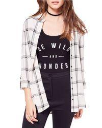 Miss Selfridge   Multicolor Mono Split Check Shirt   Lyst