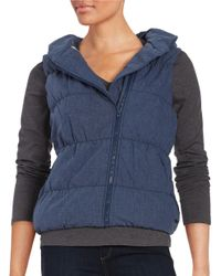 Bench | Blue Hooded Quilted Puffer Vest | Lyst