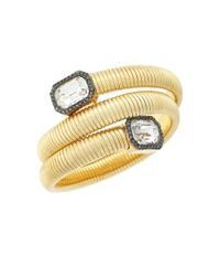 Vince Camuto | Metallic Holiday Spiral Goldtone Glass Crystal Coil Bracelet | Lyst