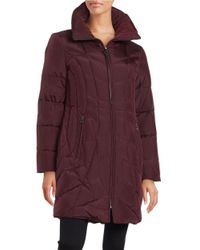 Anne Klein | Purple Convertible Collar Quilted Down Coat | Lyst