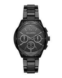 Karl Lagerfeld   Black Optik Stainless Steel Chronograph Bracelet Watch Kl4006   Lyst