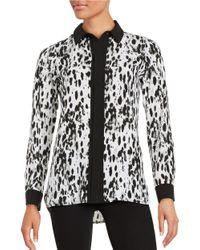 Calvin Klein | Black Printed Button-front Blouse | Lyst