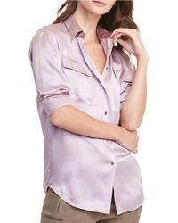 Lauren by Ralph Lauren   Purple Breige Silk Charmeuse Workshirt   Lyst