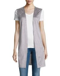 Lord & Taylor | Gray Sleeveless Open Front Vest | Lyst