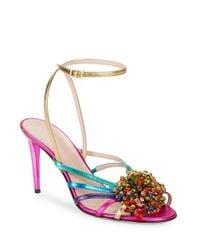 kate spade new york | Pink Isabella Sequin Embellished Strappy Sandals | Lyst