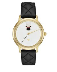 kate spade new york | Black Metro Stainless Steel Quilted Leather Strap Watch | Lyst