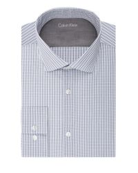 Calvin Klein | Blue Slim Fit Grid Print Dress Shirt for Men | Lyst