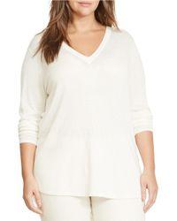 Lauren by Ralph Lauren | White Plus Silk-blend V-neck Sweater | Lyst