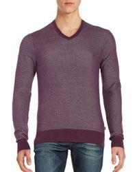 Michael Kors | Purple Textured V-neck Sweater for Men | Lyst