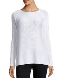 Lord & Taylor | White Knit Roundneck Sweater | Lyst