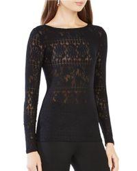 BCBGMAXAZRIA | Black Wylie Long Sleeve Lace Top | Lyst