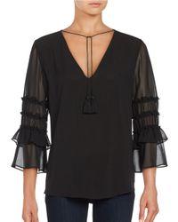 T Tahari | Black Ruffled Sleeve V-neck Top | Lyst