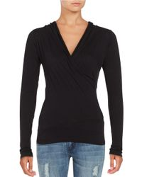 Velvet By Graham & Spencer | Black Heathered Surplice Top | Lyst
