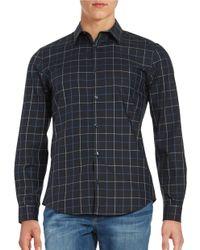 Calvin Klein | Blue Plaid Cotton Sportshirt for Men | Lyst