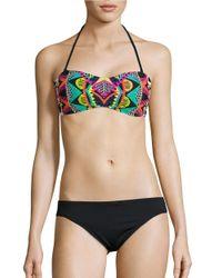 Trina Turk | Black Geometric Bandeau Bikini Top | Lyst