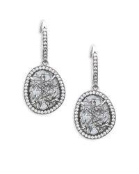 Nadri - Metallic Stone Accented Drop Earrings - Lyst