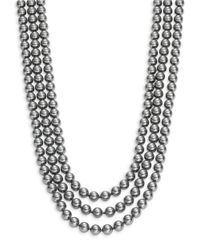 Nadri | Metallic Three-row Simulated Faux Pearl Necklace- 18 In. | Lyst