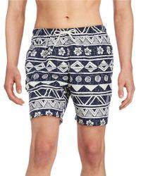 Trunks Surf & Swim | Blue Drawstring Adjustable Tropical Print Swim Trunks for Men | Lyst