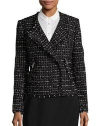 Karl Lagerfeld | Black Fringed Windowpane Tweed Blazer | Lyst