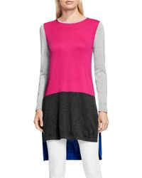 Vince Camuto | Pink Crewneck Colorblocked Tunic Sweater | Lyst