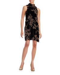 Ivanka Trump | Black Sleeveless Floral Burnout Trapeze Dress | Lyst