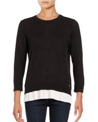 Calvin Klein   Black Pleated Cotton Blend Sweater   Lyst
